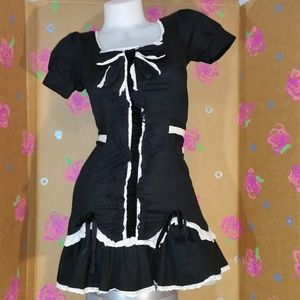 French Maid Black Ruffle Bow Costume Dress XS
